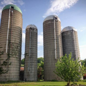 The 4 silos before we begin to drop them.