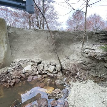 Bank has been stabilized with shotcrete