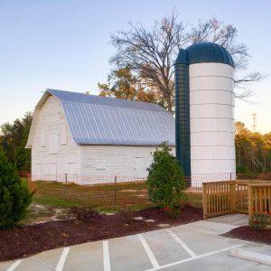 Refurbished metal silo in Cary, North Carolina.
