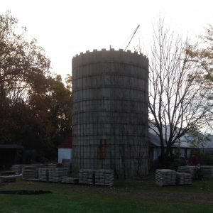 This silo is being dismantled to be reconstructed later.