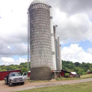 This leaning silo has been shotcreted in preparation for straightening.