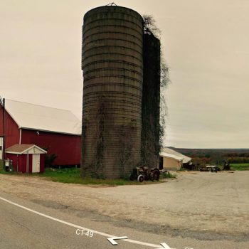Two dilapidated silos in eastern Connecticut, slated for demolition.