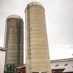 Several functional monolithic concrete silos.