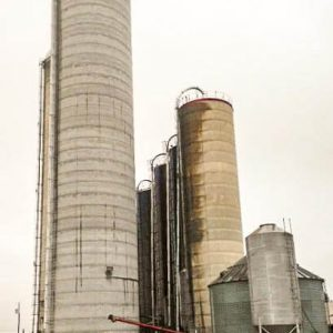 Various silo styles, new and older.